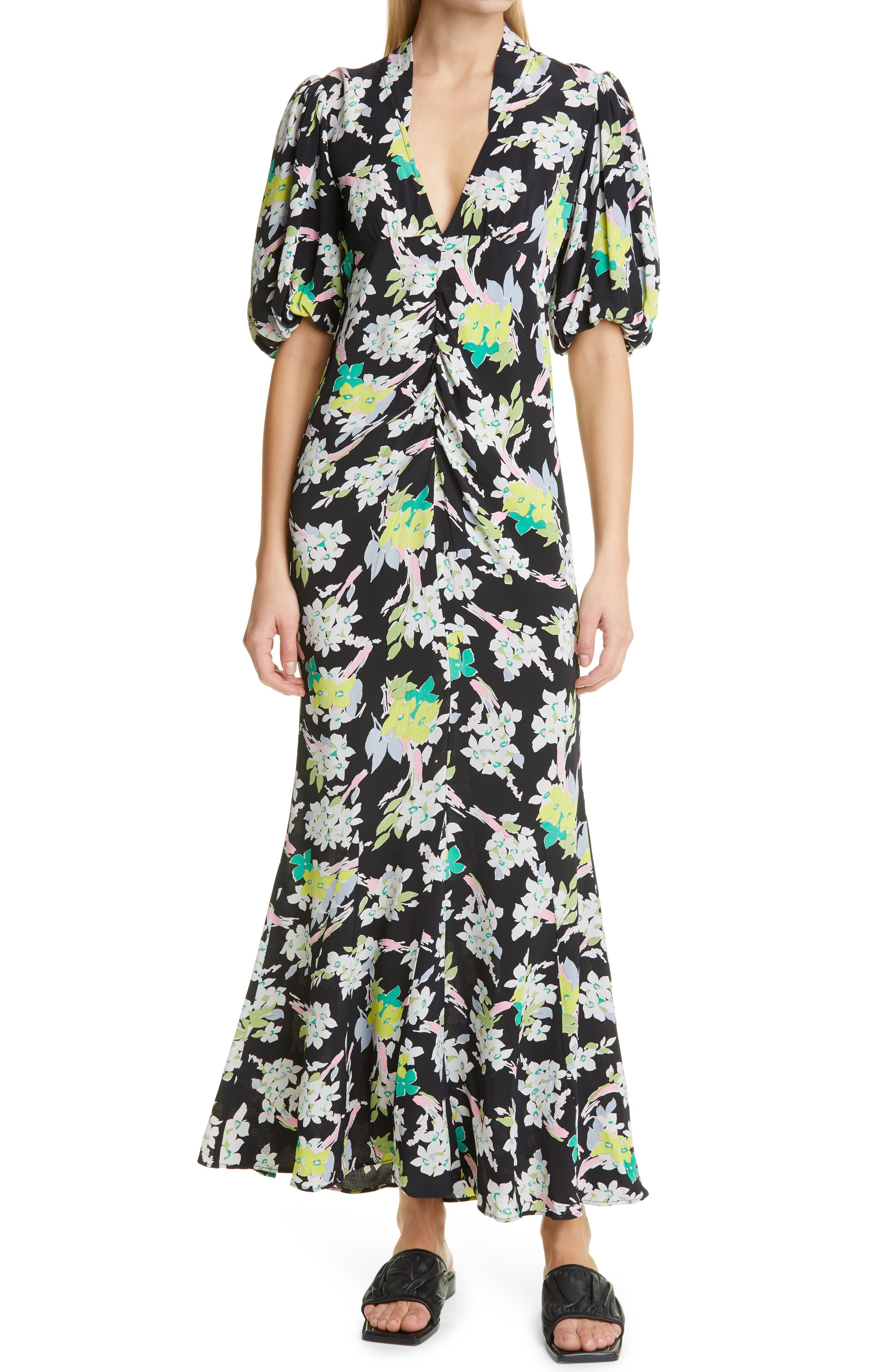 Floral Puff Sleeve Crepe Maxi Dress