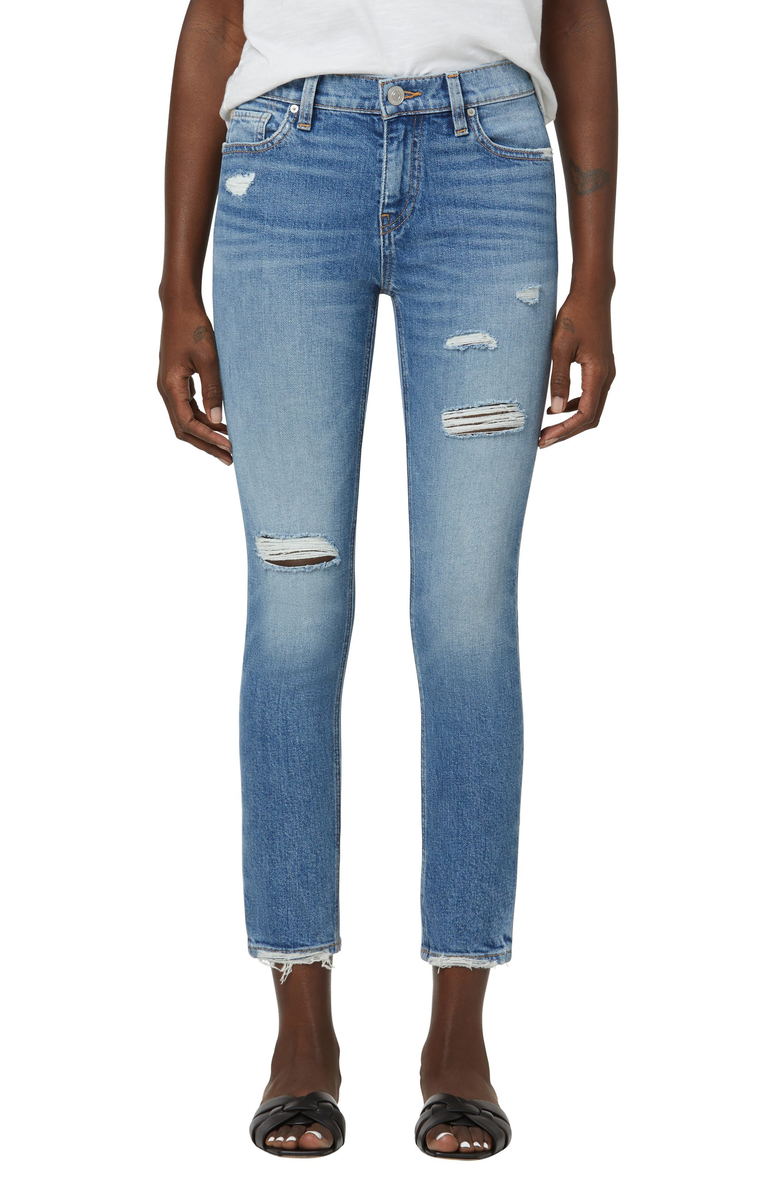 Lana High Waist Ripped Crop Boyfriend Jeans