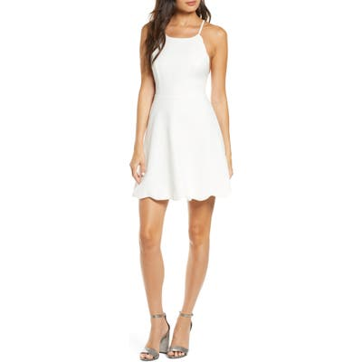 Lulus Play On Curves Strappy Back Skater Dress, Ivory