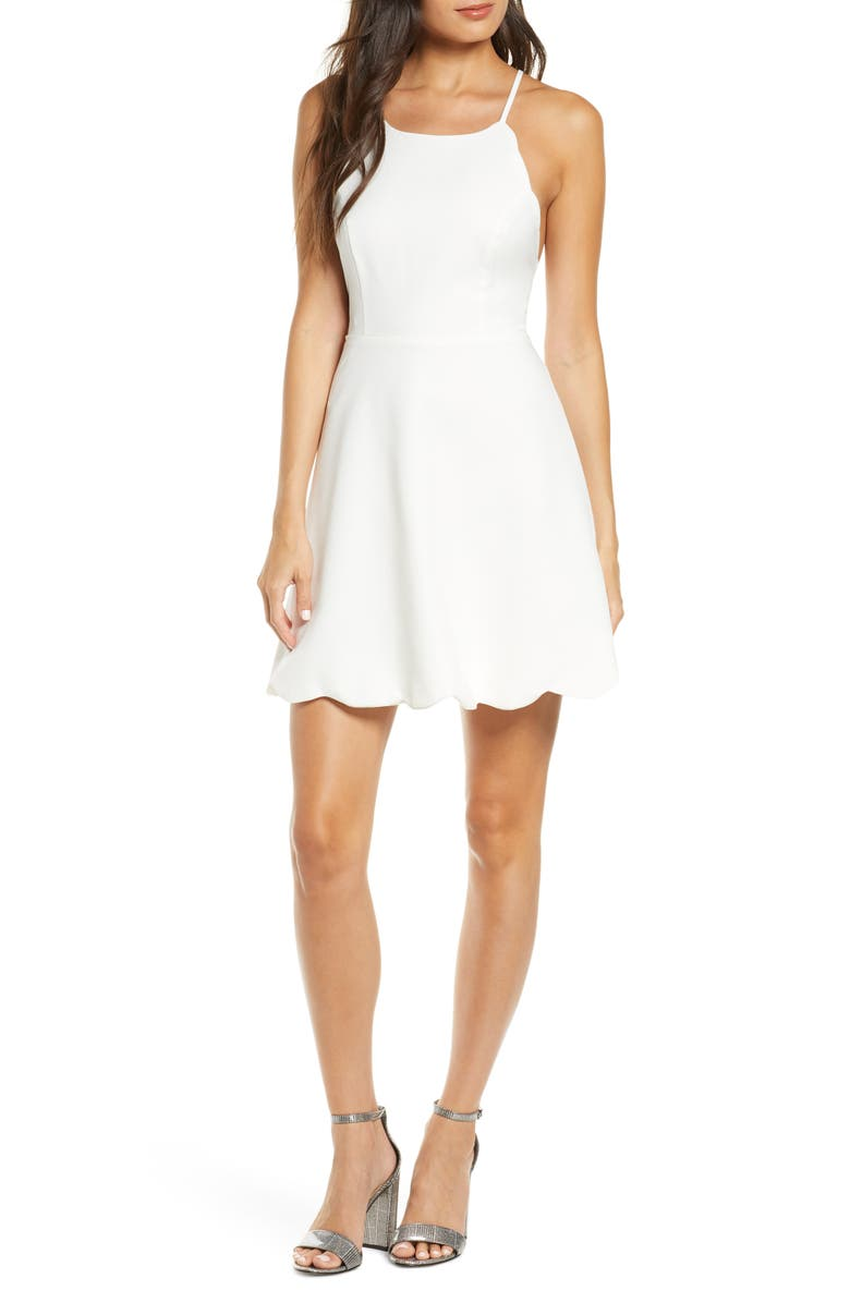 LULUS Play On Curves Strappy Back Skater Dress, Main, color, IVORY
