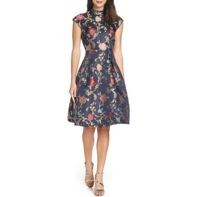Chi Chi London Floral Print Party Dress, Blue
