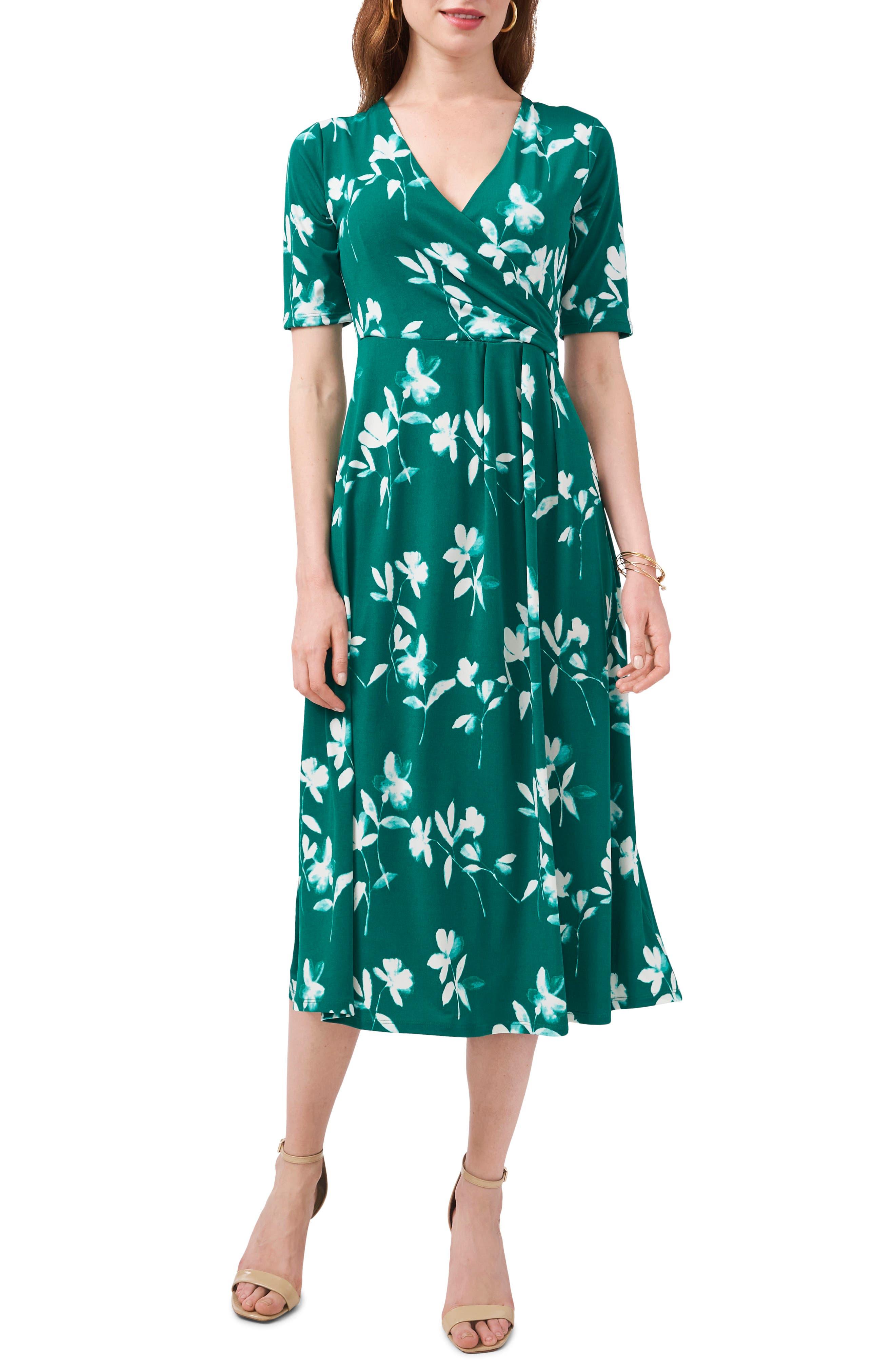 Floral Pattern Faux Wrap Midi Dress