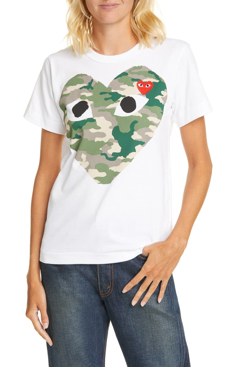 COMME DES GARÇONS PLAY Camouflage Heart Tee, Main, color, WHITE