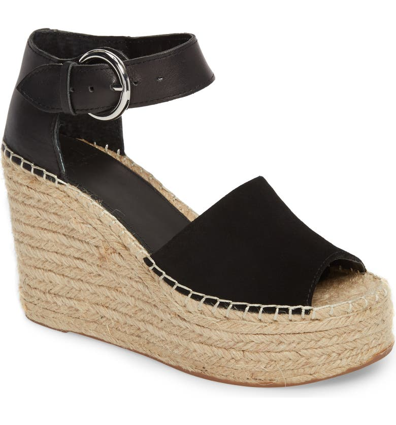 MARC FISHER LTD Alida Espadrille Platform Wedge, Main, color, BLACK SUEDE