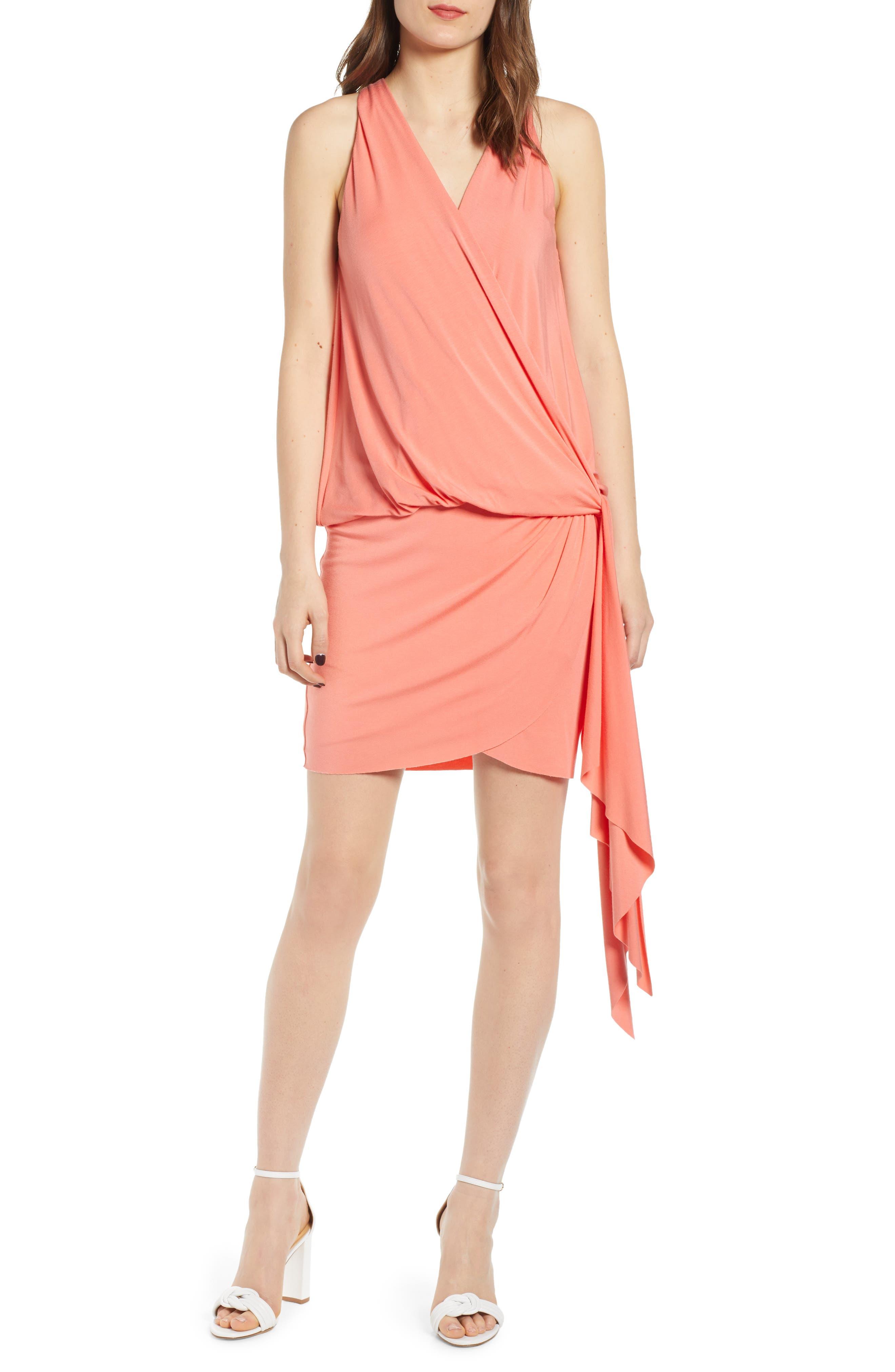 Bailey 44 New Dimension Faux Wrap Minidress, Orange