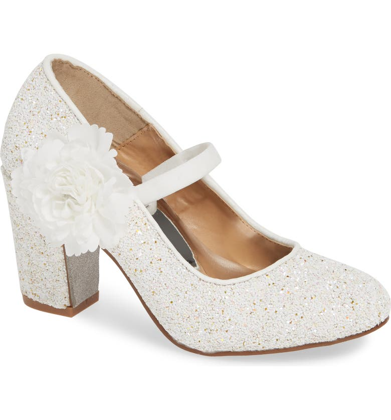 BADGLEY MISCHKA COLLECTION Badgley Mischka Kylie Flower Glitter Pump, Main, color, WHITE IRIDESCENT GLITTER