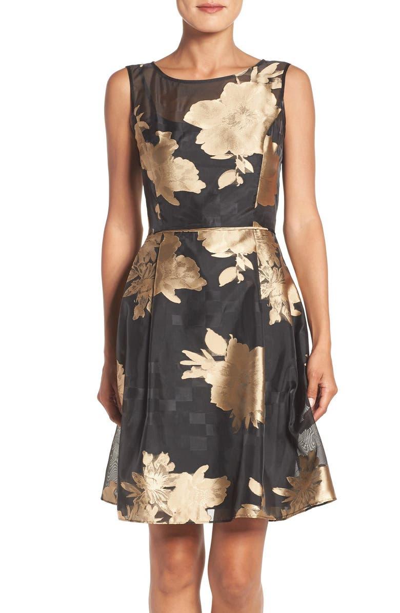 ELLEN TRACY Burnout Floral Fit & Flare Dress, Main, color, 007