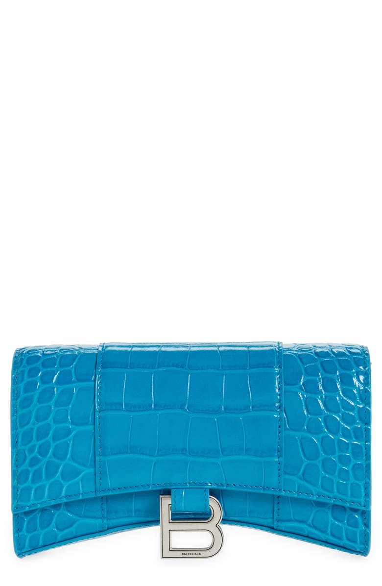 BALENCIAGA Hourglass Croc Embossed Leather Wallet on a Chain, Main, color, TURQUOISE