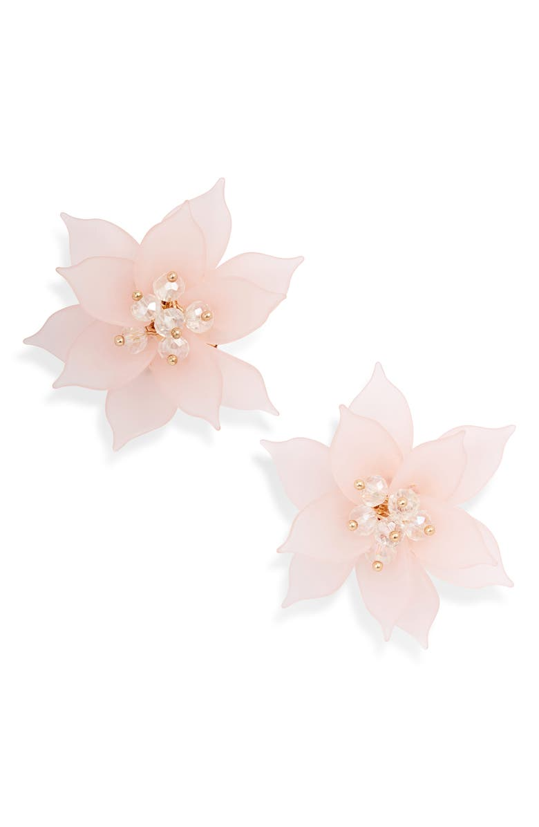 RACHEL PARCELL Flower Statement Earrings, Main, color, PINK- GOLD