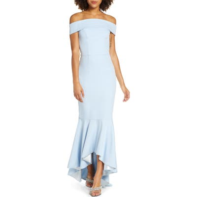Chi Chi London Cali Off The Shoulder Mermaid Gown, Blue