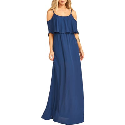 Show Me Your Mumu Caitlin Cold Shoulder Chiffon Gown, Blue