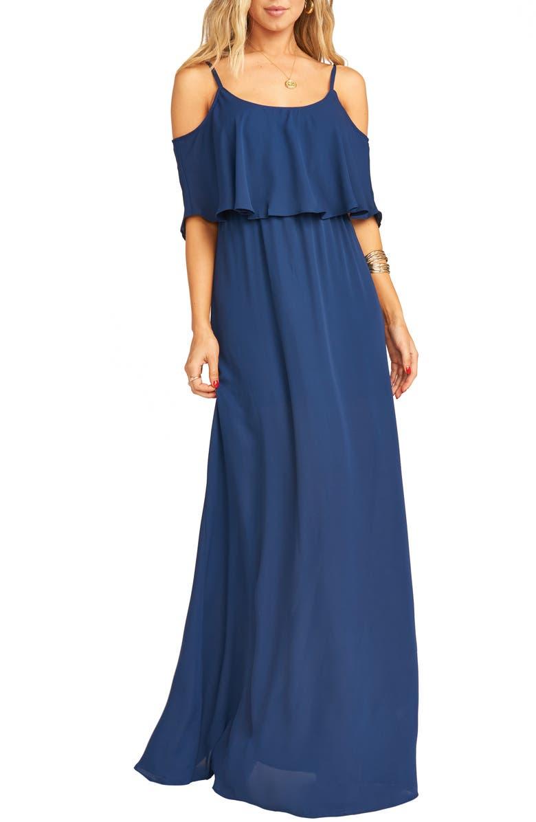 SHOW ME YOUR MUMU Caitlin Cold Shoulder Chiffon Gown, Main, color, RICH NAVY