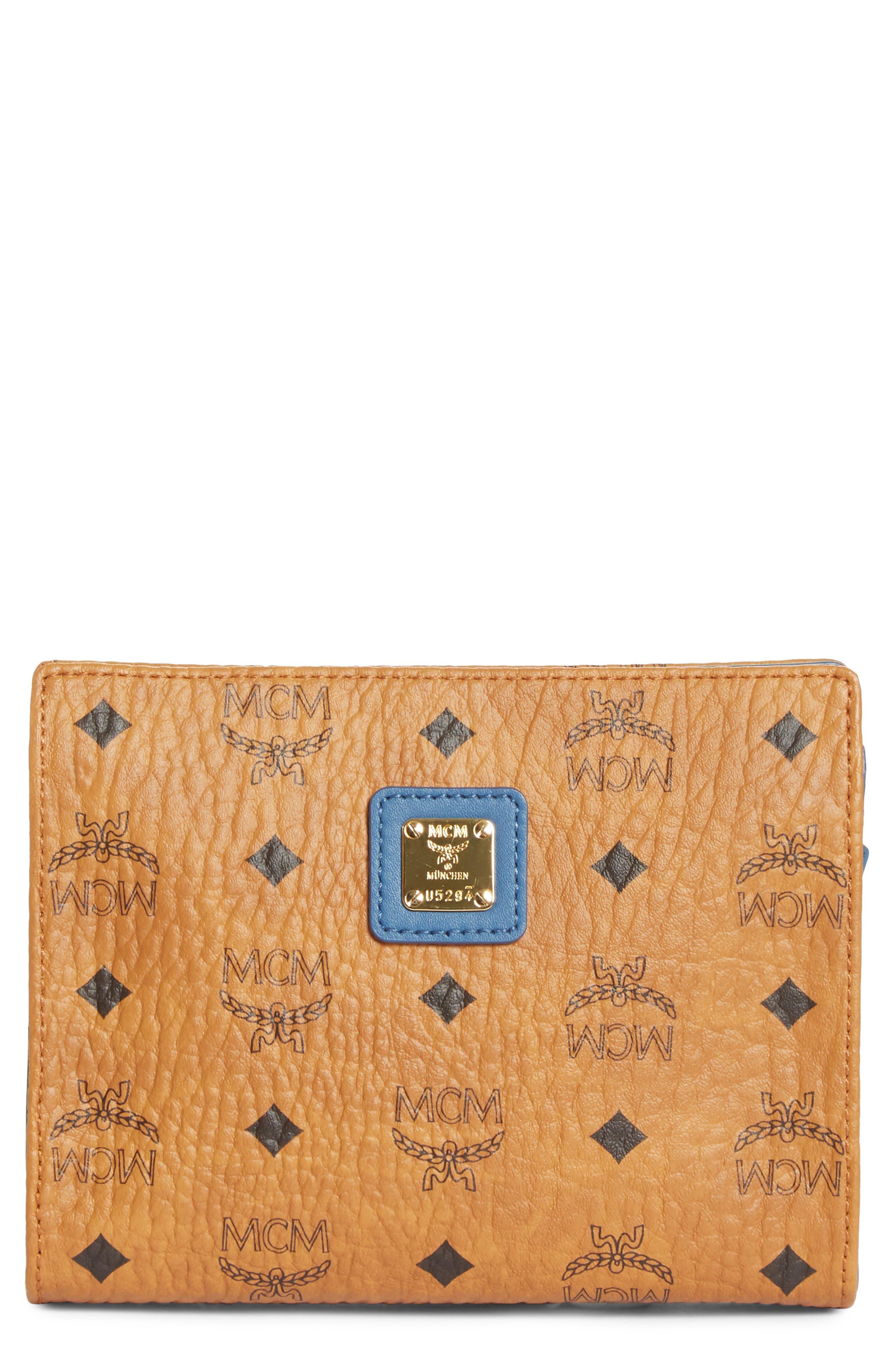 Small Visetos Zip Pouch, Main, color, COGNAC/ SLATE BLUE