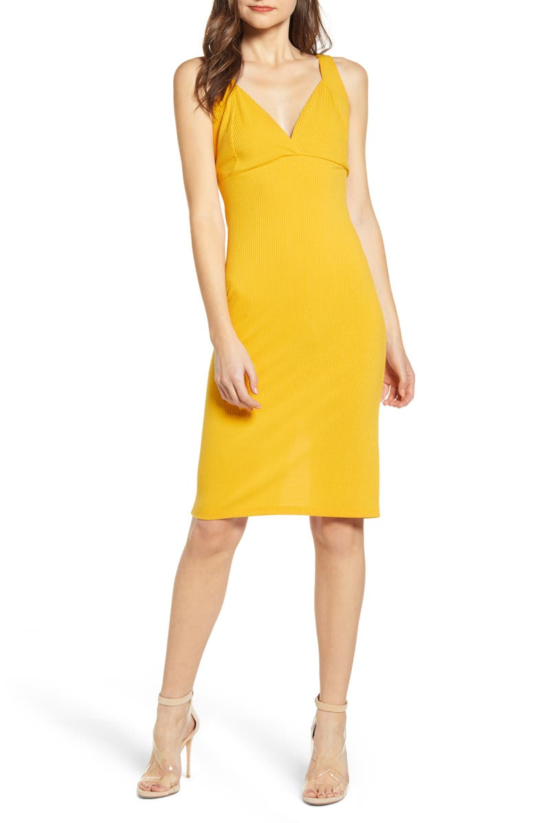 ALL IN FAVOR Ribbed Body-Con Dress, Main, color, GOLDEN