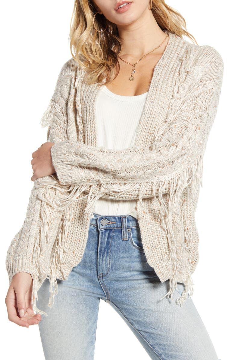 BP. Folk Daze Fringe Cable Stitch Cardigan, Main, color, BEIGE OATMEAL NEP