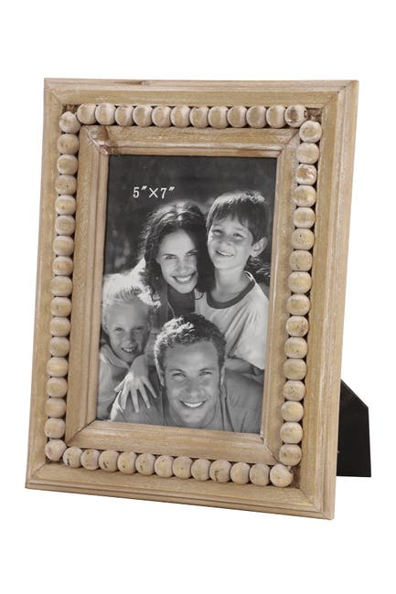 "Image of Willow Row Large Rectangular Natural Wood Picture Frame with Decorative Wood Bead Trim - 7.5""X 10"