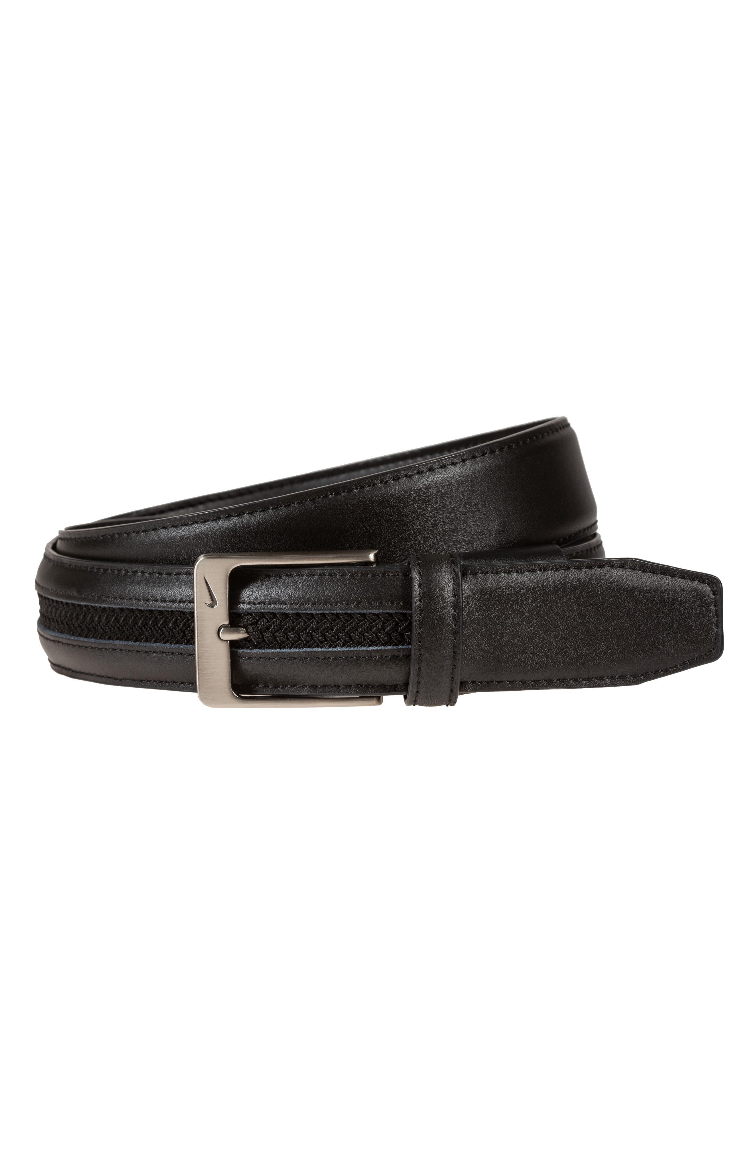 Nike G-Flex Woven Leather Belt, Black