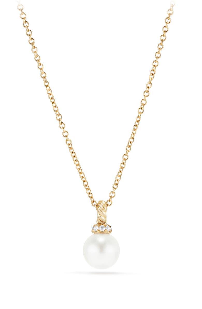 David Yurman Solari Pendant Necklace With Pearl Diamonds In 18K Gold