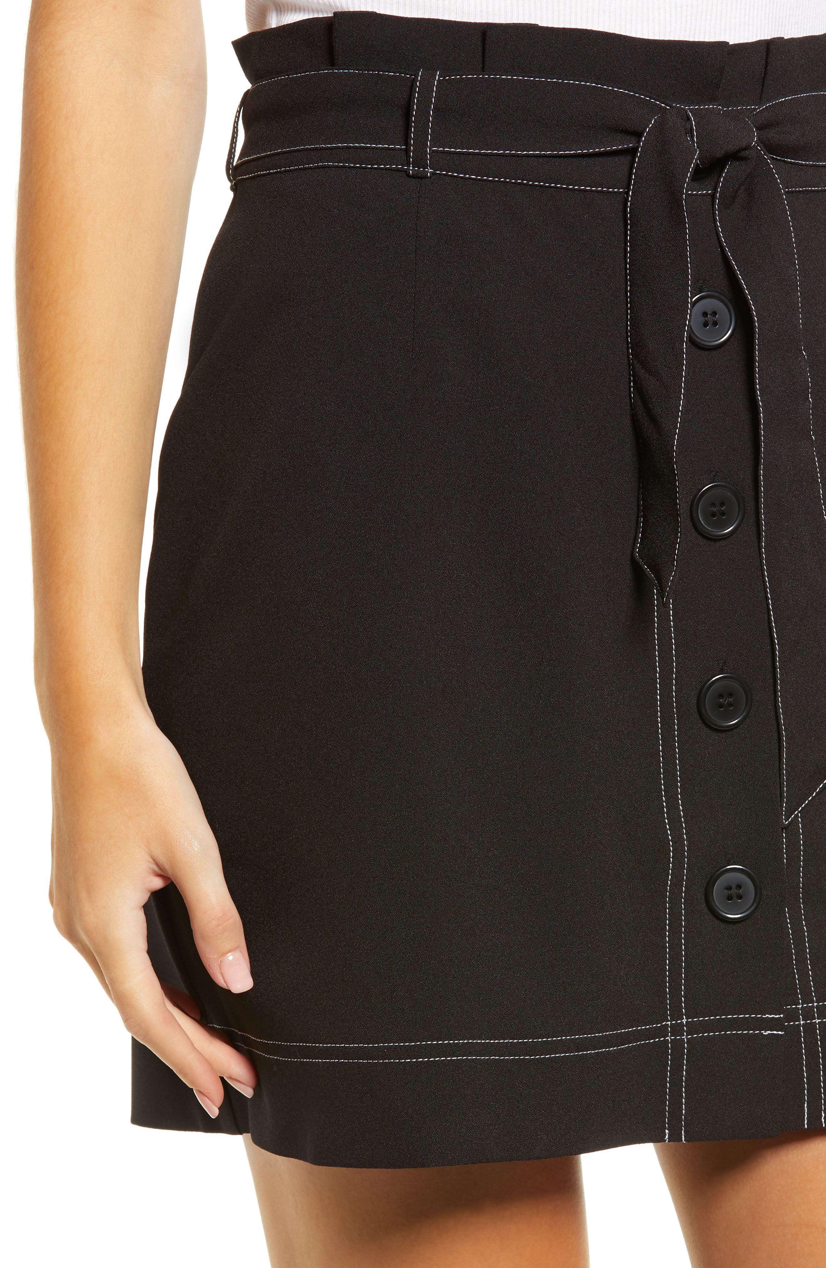 ,                             Button Front Skirt,                             Alternate thumbnail 4, color,                             BLACK