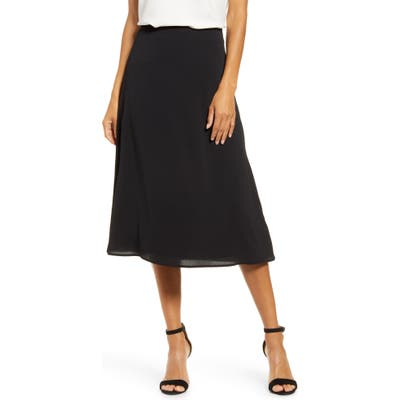 Petite Gibson X City Safari Roselyn Weaver A-Line Midi Skirt, Black