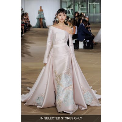 Ines Di Santo Dove Strapless Wedding Dress With Overskirt, Size IN STORE ONLY - Pink