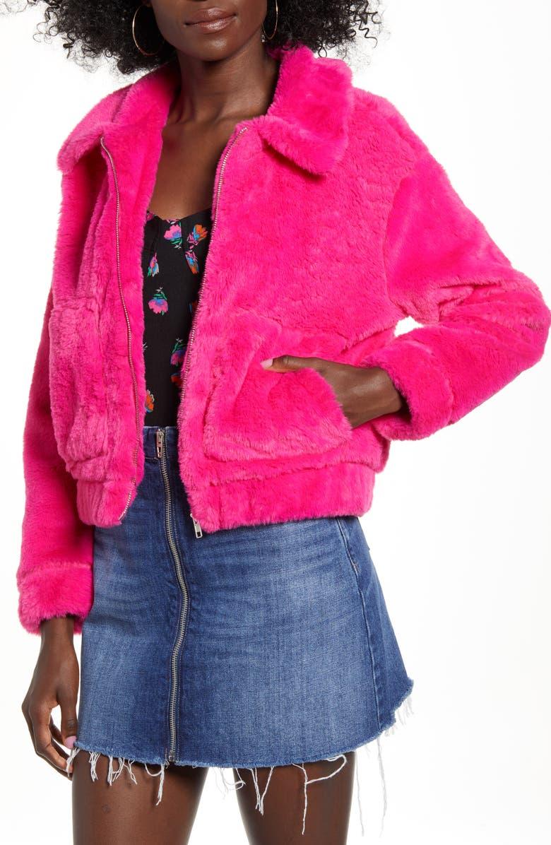4SI3NNA Teddy Faux Fur Jacket, Main, color, NEON PINK