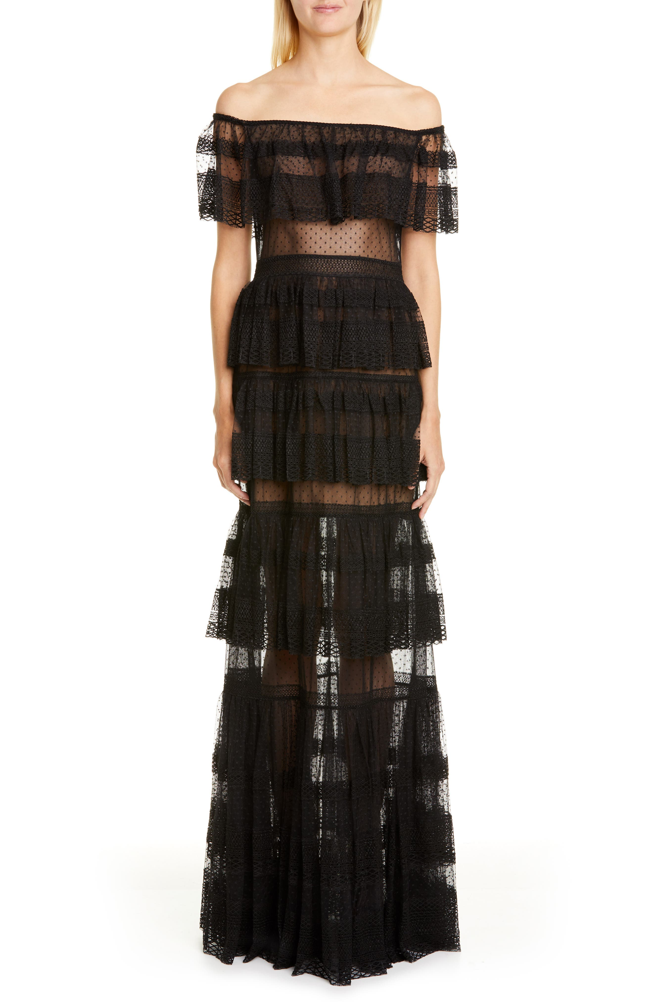 Zuhair Murad Off The Shoulder Tiered Gown, Black