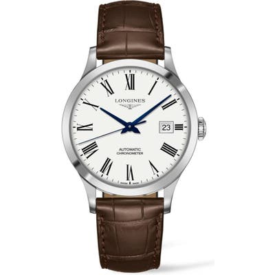 Longines Record Alligator Leather Strap Automatic Watch, 40Mm