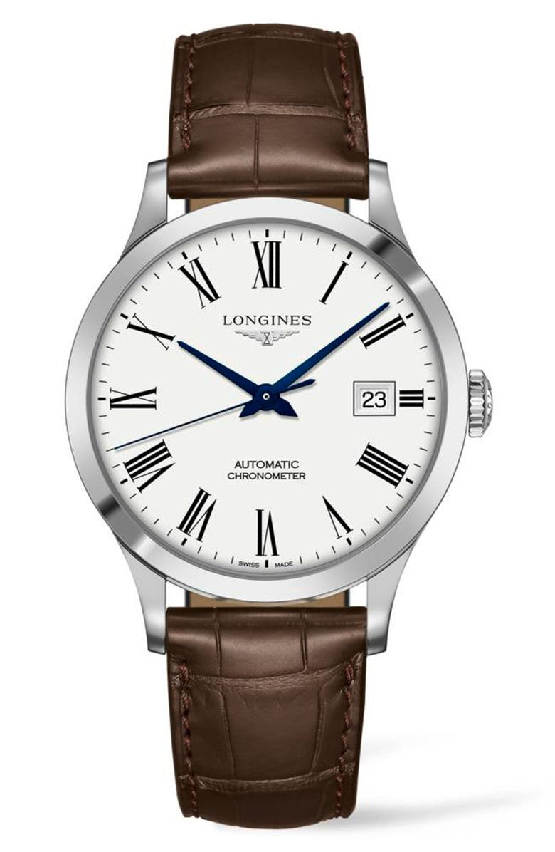 LONGINES Record Alligator Leather Strap Automatic Watch, 40mm, Main, color, BROWN/ WHITE/ SILVER