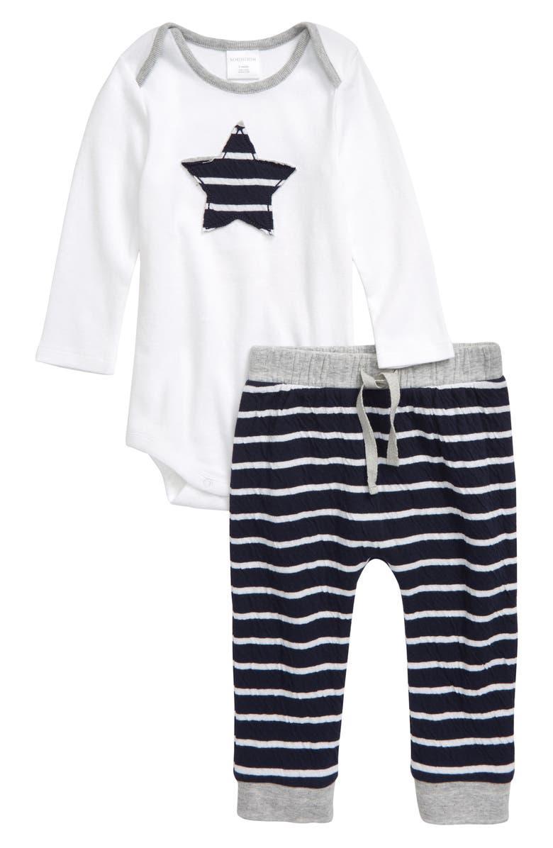 NORDSTROM BABY Appliqué Bodysuit & Pants Set, Main, color, WHITE- NAVY STAR
