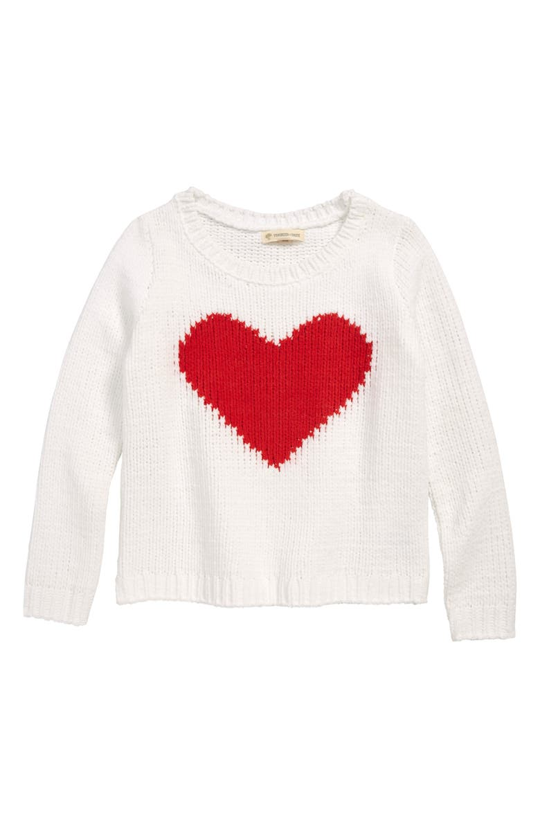 TUCKER + TATE Heart Plush Sweater, Main, color, WHITE- RED HEART