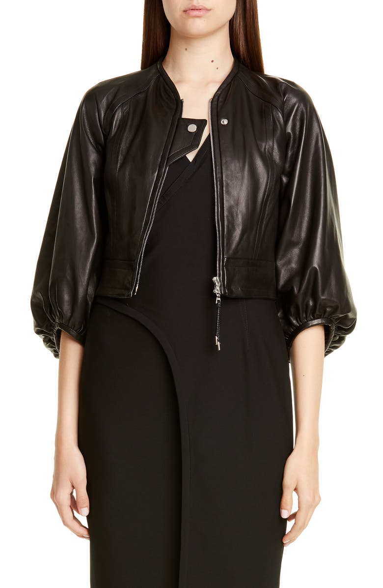 YIGAL AZROUËL Crop Lambskin Leather Jacket, Main, color, BLACK
