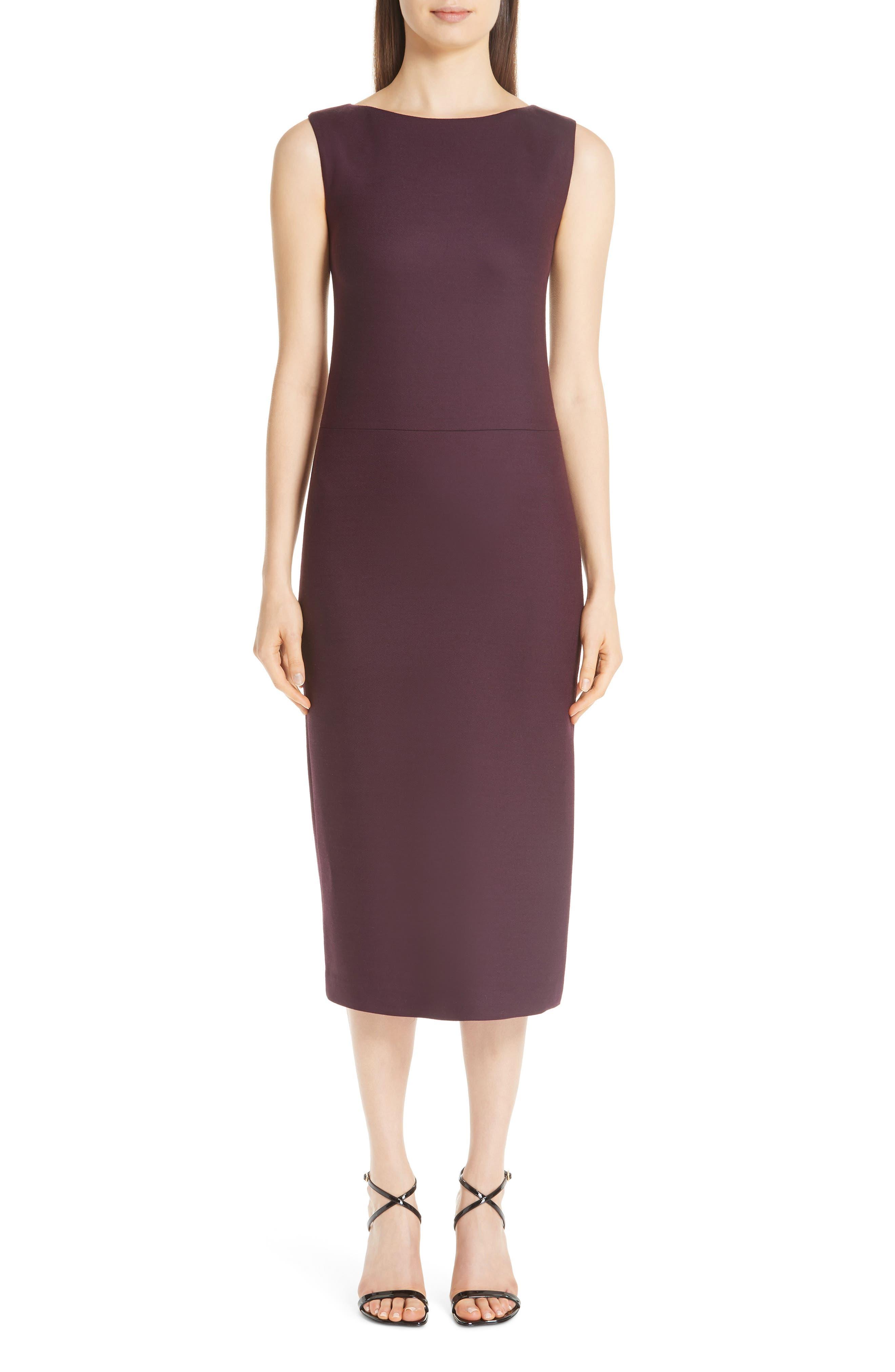 women's adam lippes double face wool sheath dress, size 12 - burgundy