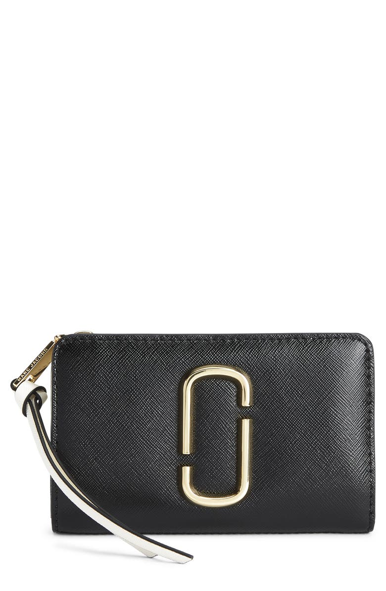 THE MARC JACOBS Snapshot Leather Compact Wallet, Main, color, BLACK MULTI