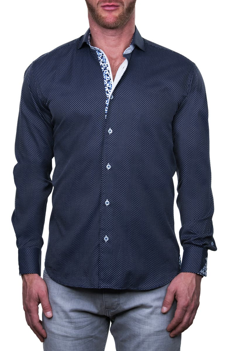 MACEOO Einstein Multisquare Regular Fit Button-Up Shirt, Main, color, BLUE