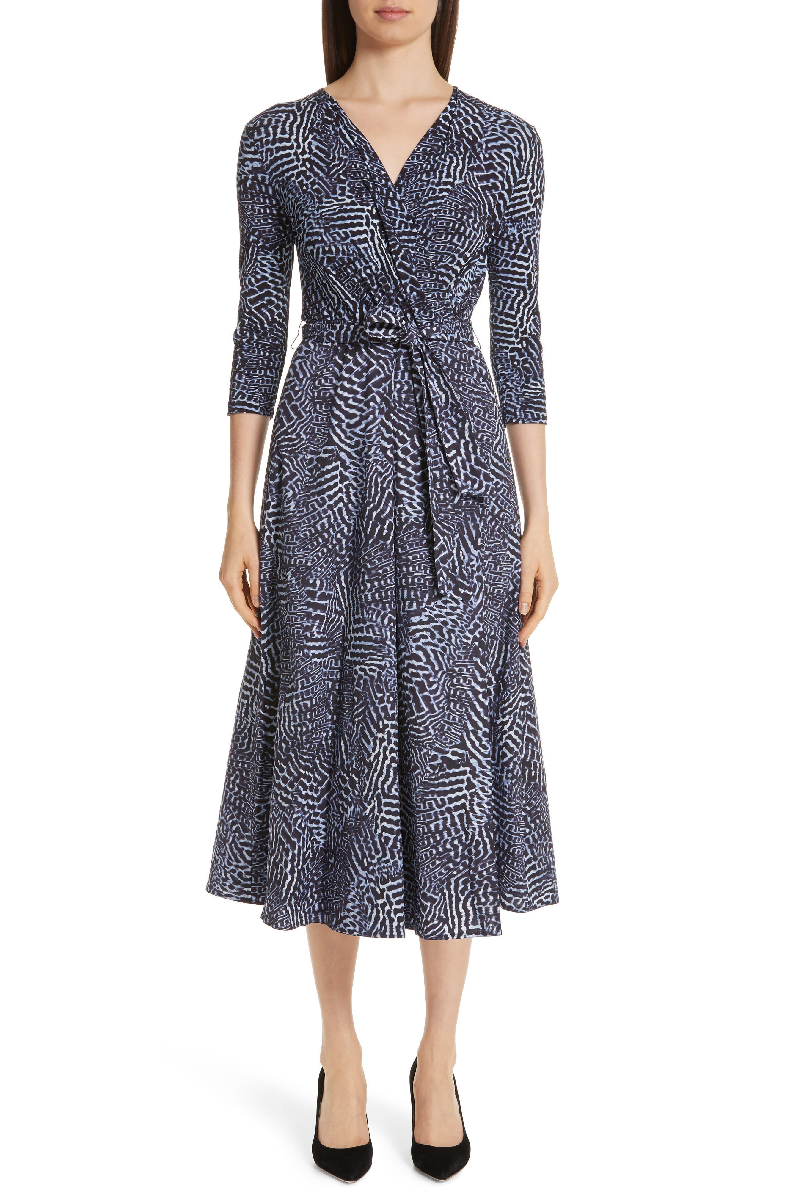 Acume Print Faux Wrap Dress, Main, color, CORNFLOWER BLUE