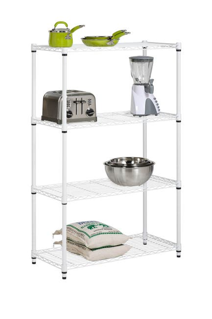 Image of Honey-Can-Do White 4-Tier Adjustable Storage Shelving Unit
