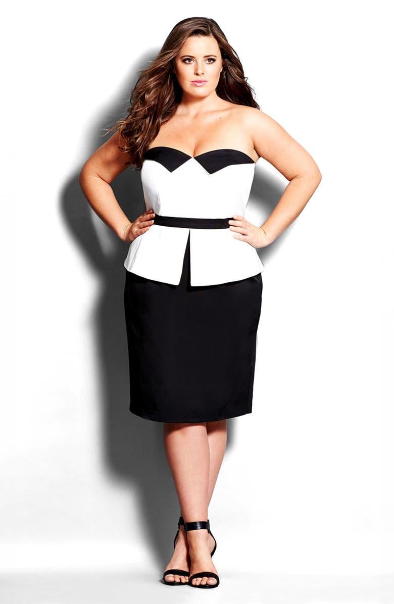 City Chic \'Tuxedo\' Peplum Sheath Dress (Plus Size) | Nordstrom