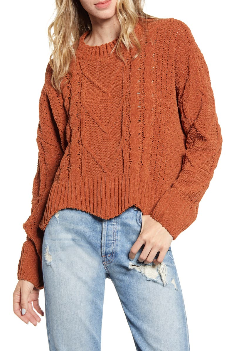 BLANKNYC Cable Knit Crewneck Sweater, Main, color, TERRA COTTA