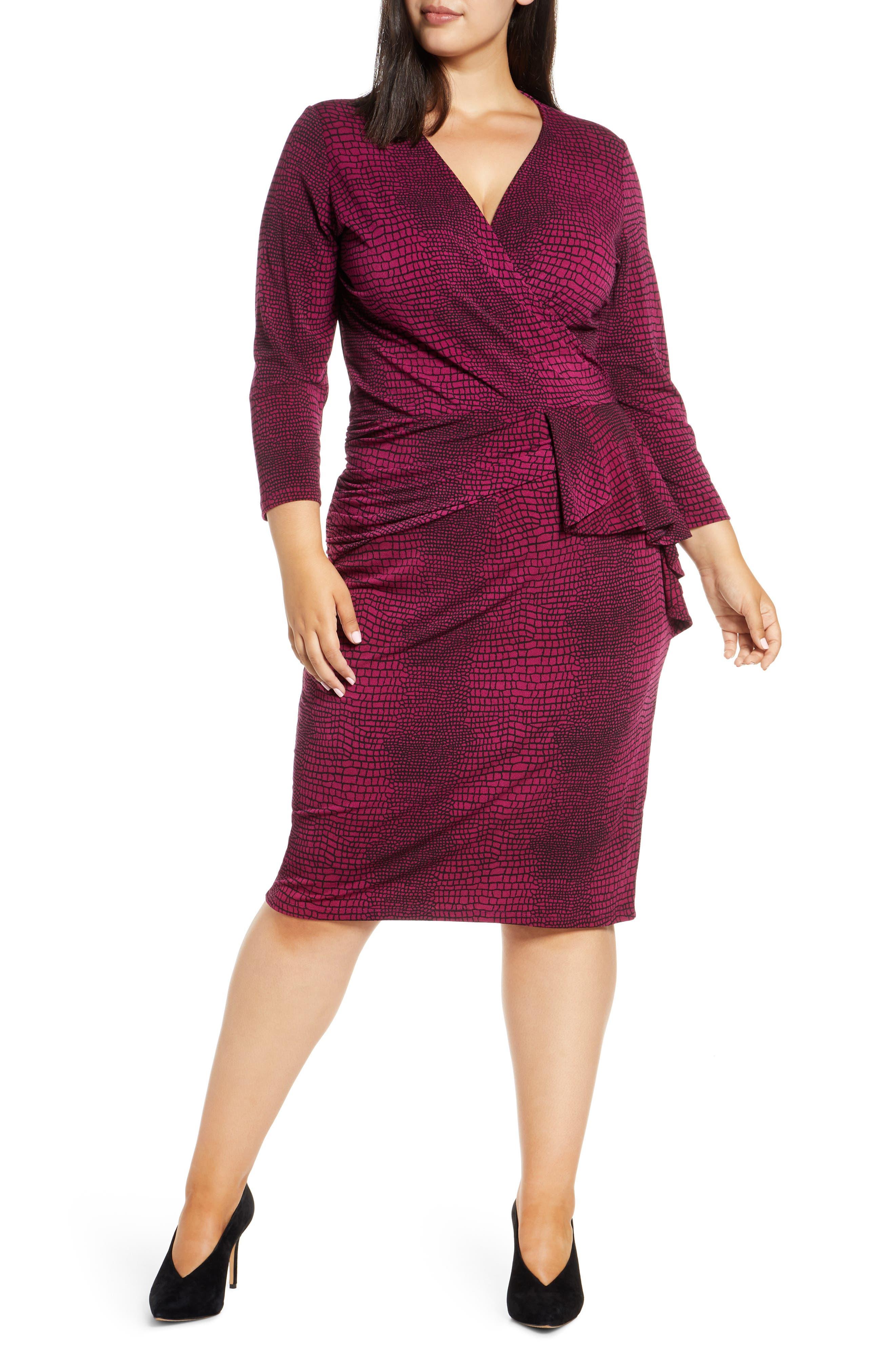Image of Leota Scarlett Ruffled Wrap Midi Dress