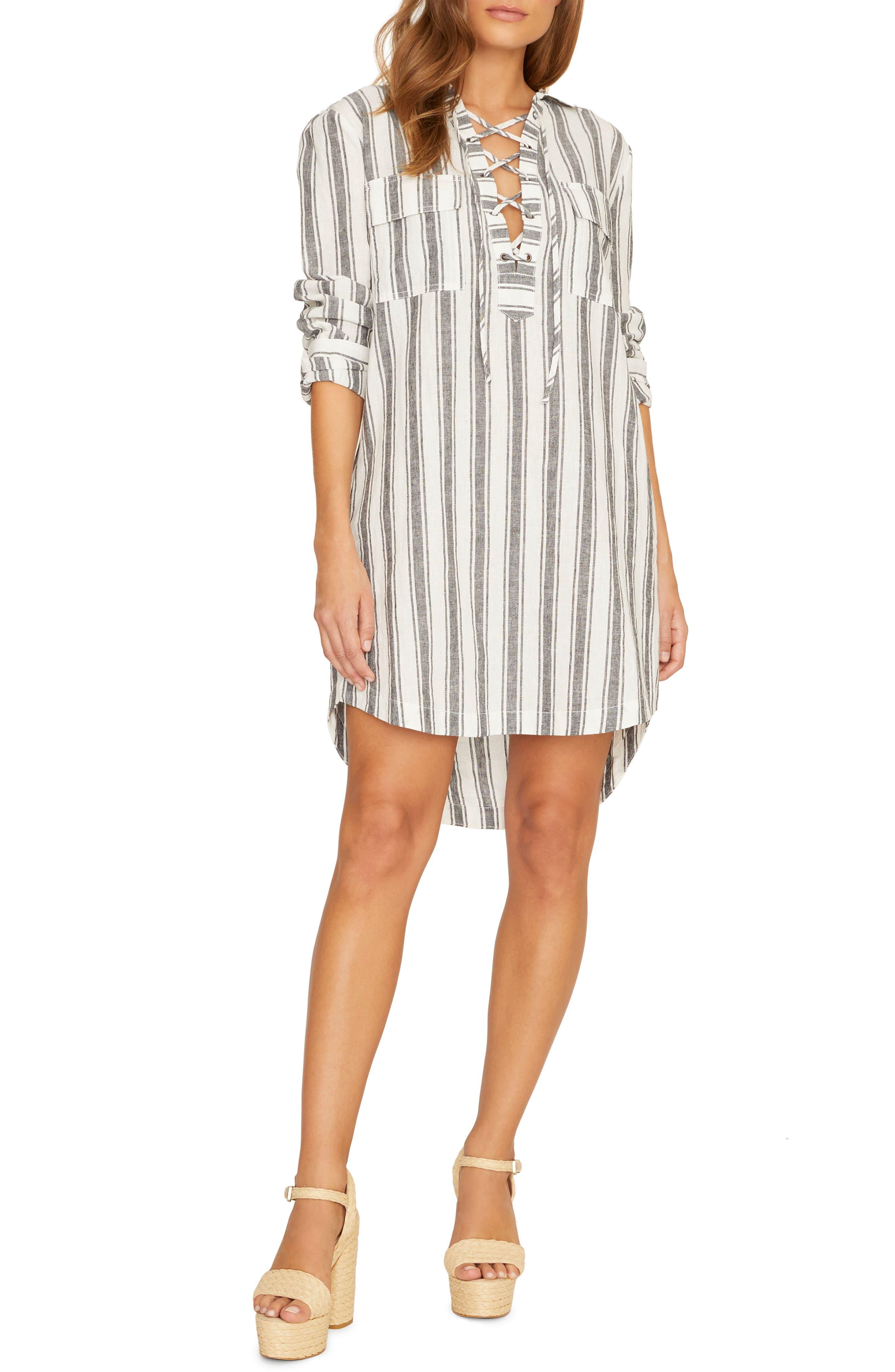 Sanctuary Staycation Stripe Lace-Up Long Sleeve Linen Blend Dress, Blue