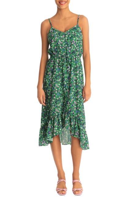 Image of Donna Morgan Strappy V-Neck Hi-Lo Midi Dress