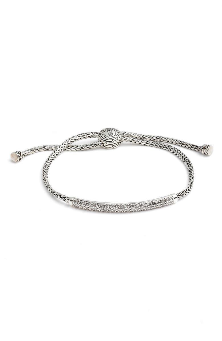 JOHN HARDY Classic Chain Pull Through Bracelet, Main, color, SILVER/ DIAMOND