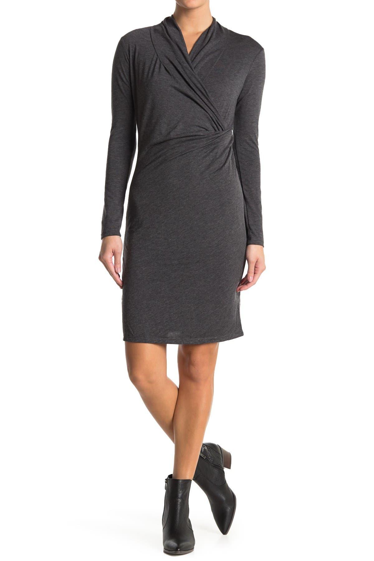 Image of Love Stitch Faux Wrap Knit Dress