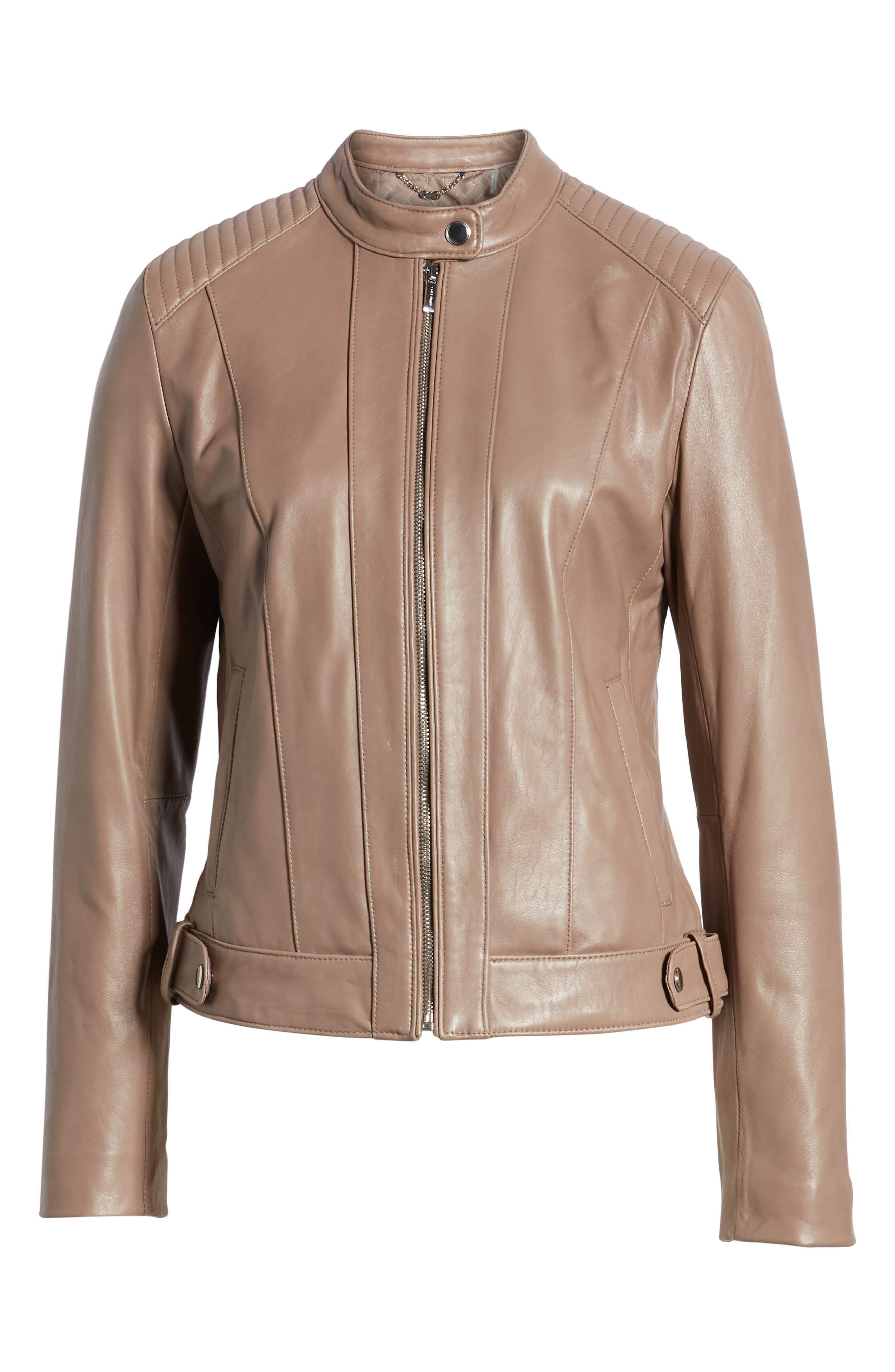 ,                             Leather Moto Jacket,                             Alternate thumbnail 7, color,                             TAUPE