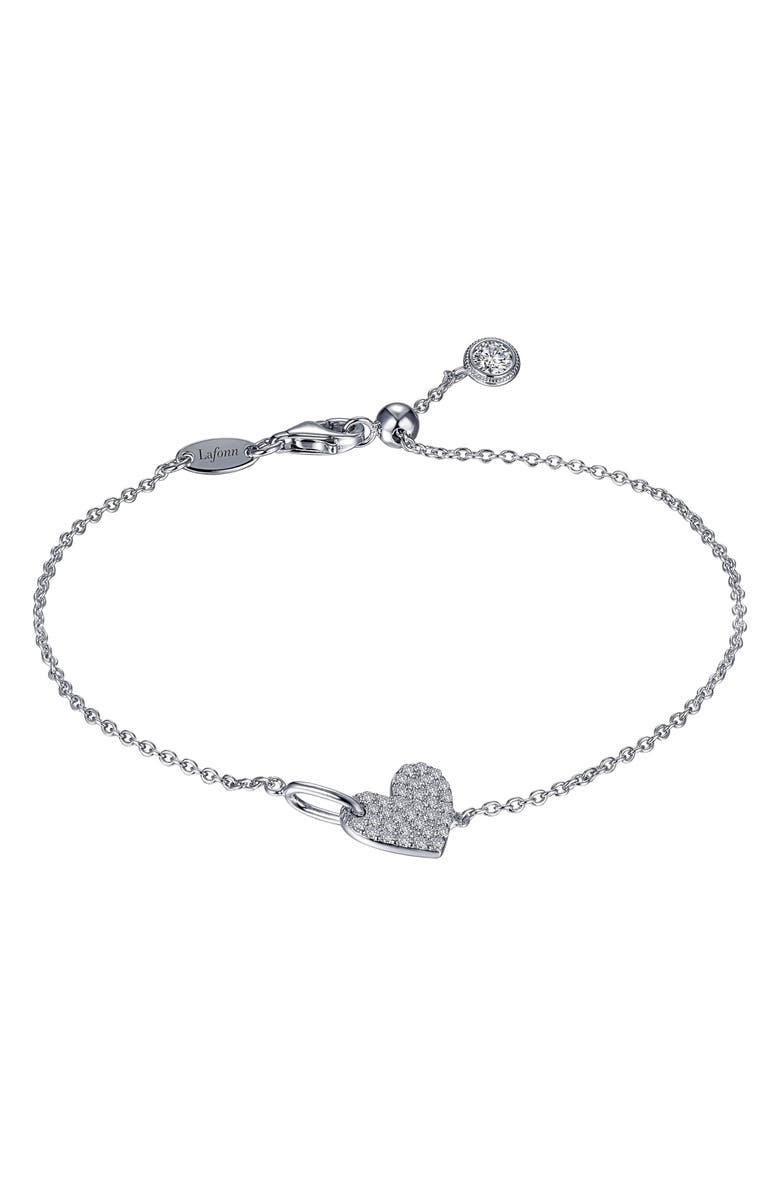 LAFONN Pavé Heart Bracelet, Main, color, SILVER/CLEAR
