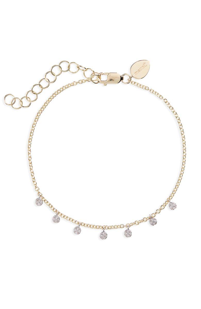 MEIRA T Diamond Disc Charm Bracelet, Main, color, YELLOW/ WHITE GOLD