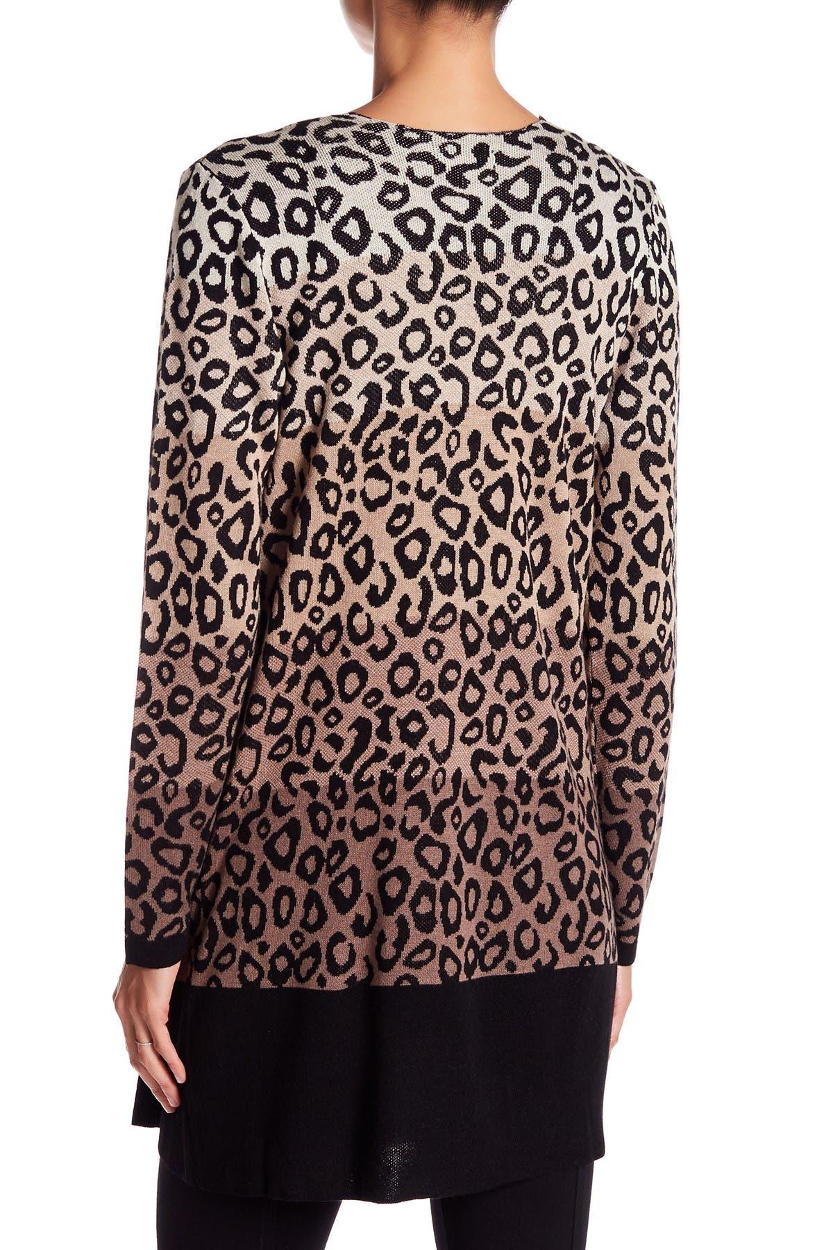 Image of JOSEPH A Leopard Print Double Knit Cardigan