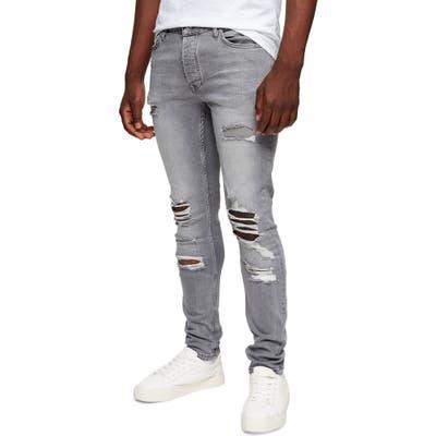 Topman Ripped Skinny Jeans, Grey