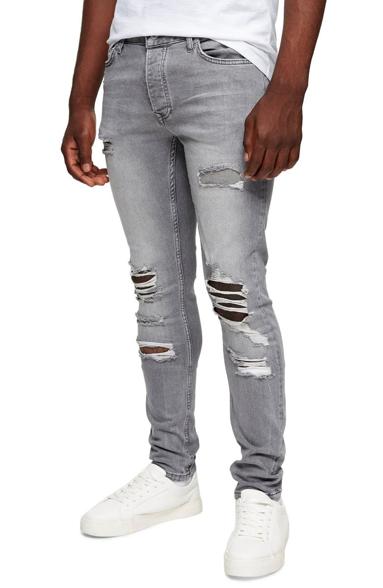 TOPMAN Ripped Skinny Jeans, Main, color, GREY